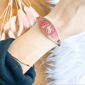 Sterling silver & shell butterfly bangle